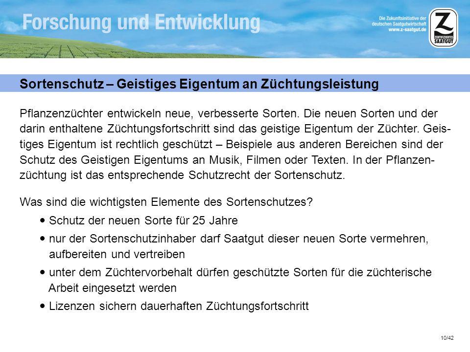 10/42 Sortenschutz – Geistiges Eigentum an Züchtungsleistung Pflanzenzüchter entwickeln neue, verbesserte Sorten. Die neuen Sorten und der darin entha
