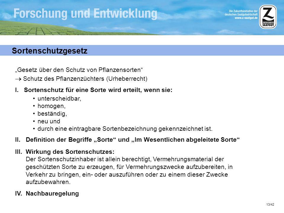 13/42 Sortenschutzgesetz Gesetz über den Schutz von Pflanzensorten Schutz des Pflanzenzüchters (Urheberrecht) I. Sortenschutz für eine Sorte wird erte