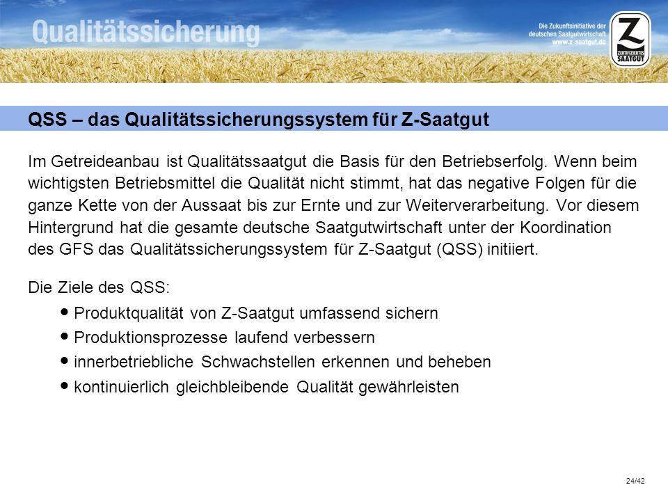 24/42 QSS – das Qualitätssicherungssystem für Z-Saatgut Im Getreideanbau ist Qualitätssaatgut die Basis für den Betriebserfolg. Wenn beim wichtigsten