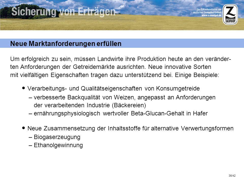 36/42 Neue Marktanforderungen erfüllen Um erfolgreich zu sein, müssen Landwirte ihre Produktion heute an den veränder- ten Anforderungen der Getreidem