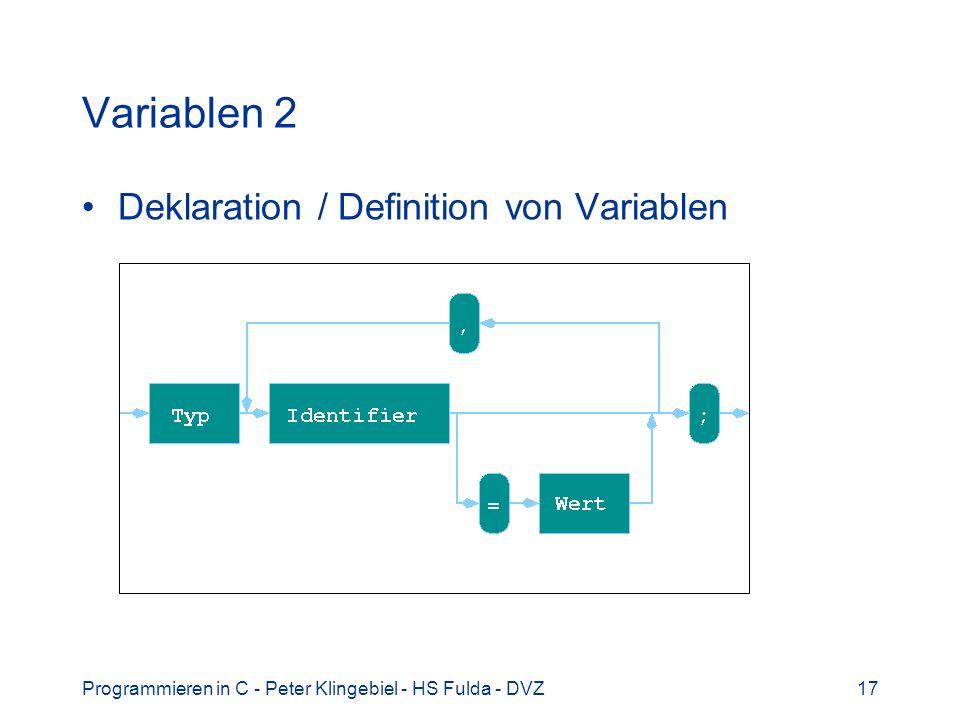 Programmieren in C - Peter Klingebiel - HS Fulda - DVZ17 Variablen 2 Deklaration / Definition von Variablen