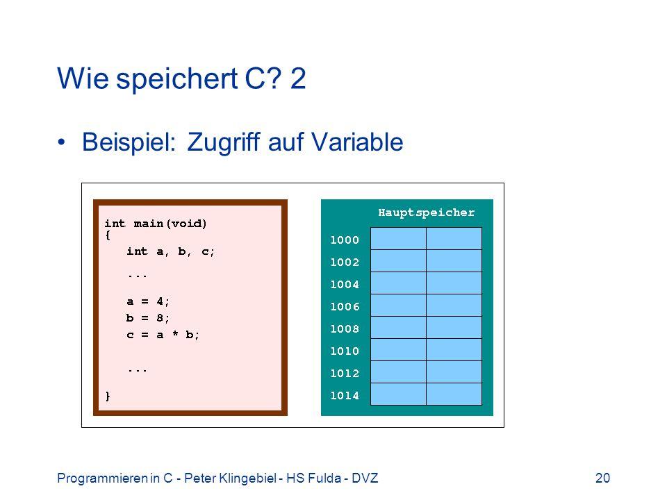 Programmieren in C - Peter Klingebiel - HS Fulda - DVZ20 Wie speichert C? 2 Beispiel: Zugriff auf Variable
