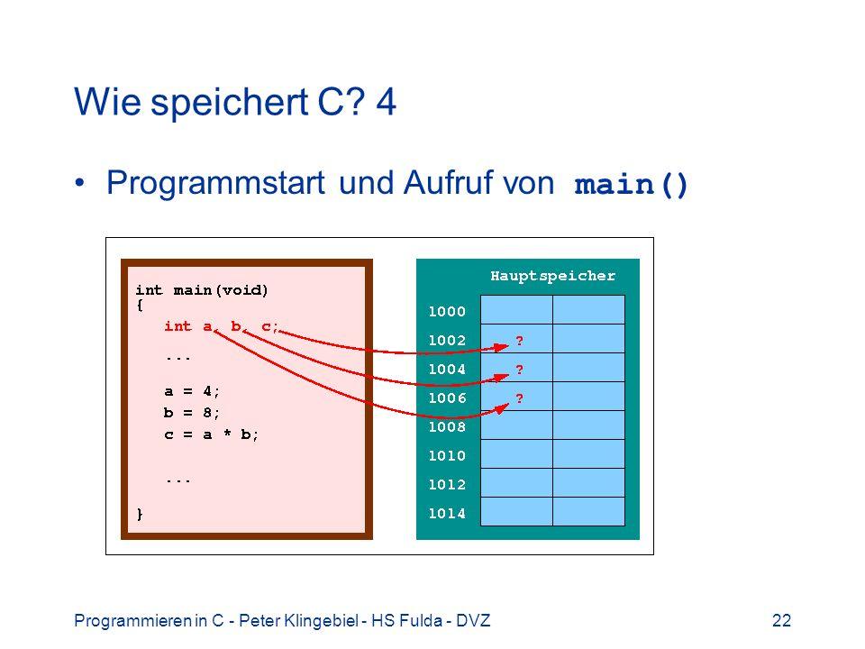 Programmieren in C - Peter Klingebiel - HS Fulda - DVZ22 Wie speichert C? 4 Programmstart und Aufruf von main()