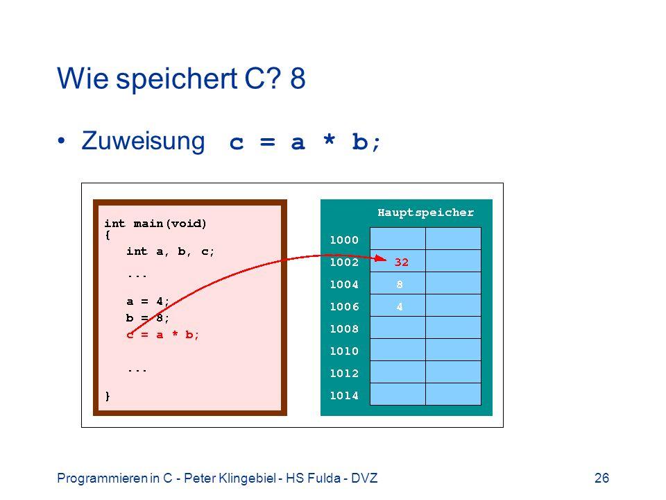 Programmieren in C - Peter Klingebiel - HS Fulda - DVZ26 Wie speichert C? 8 Zuweisung c = a * b;