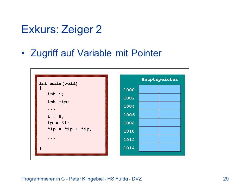 Programmieren in C - Peter Klingebiel - HS Fulda - DVZ29 Exkurs: Zeiger 2 Zugriff auf Variable mit Pointer