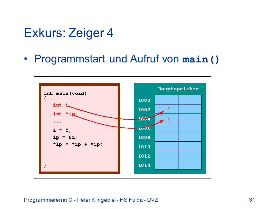 Programmieren in C - Peter Klingebiel - HS Fulda - DVZ31 Exkurs: Zeiger 4 Programmstart und Aufruf von main()