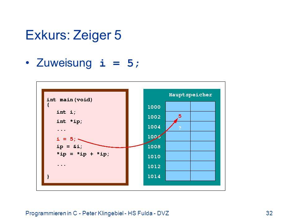 Programmieren in C - Peter Klingebiel - HS Fulda - DVZ32 Exkurs: Zeiger 5 Zuweisung i = 5;