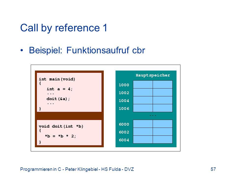 Programmieren in C - Peter Klingebiel - HS Fulda - DVZ57 Call by reference 1 Beispiel: Funktionsaufruf cbr