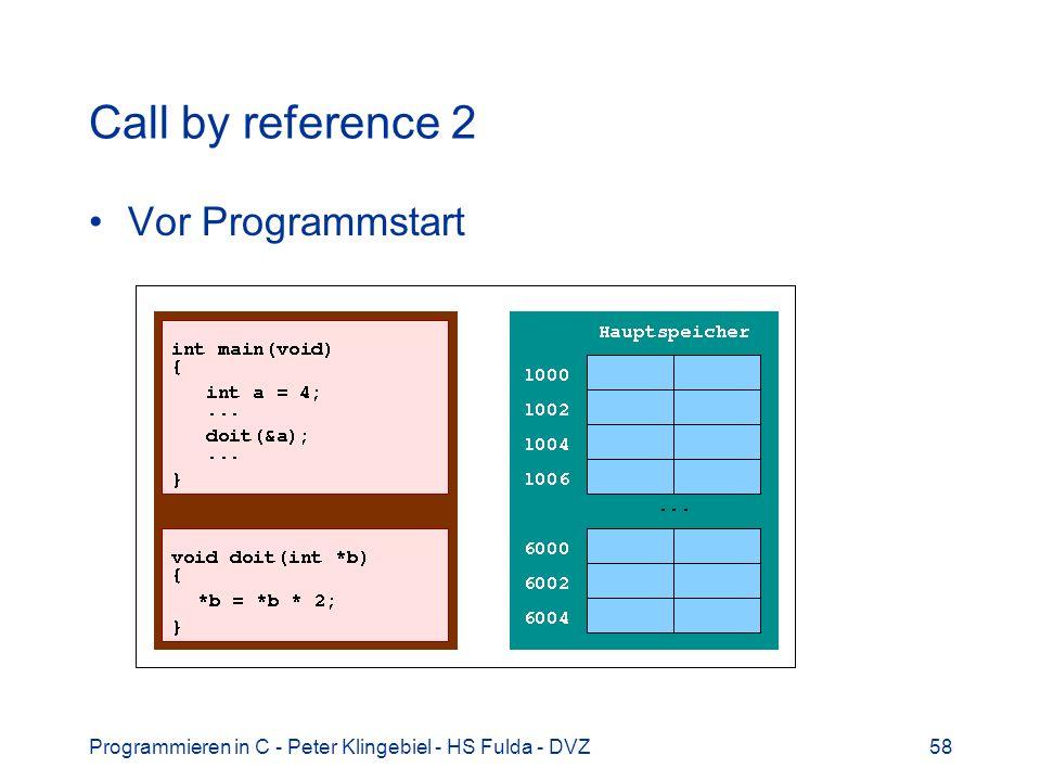 Programmieren in C - Peter Klingebiel - HS Fulda - DVZ58 Call by reference 2 Vor Programmstart