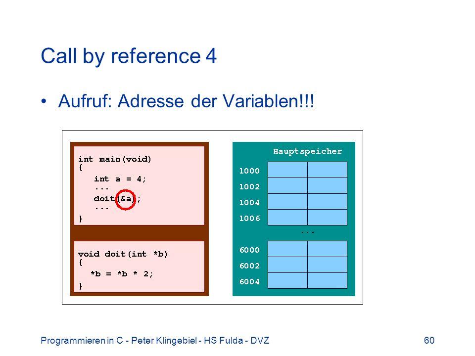 Programmieren in C - Peter Klingebiel - HS Fulda - DVZ60 Call by reference 4 Aufruf: Adresse der Variablen!!!