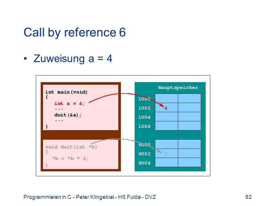 Programmieren in C - Peter Klingebiel - HS Fulda - DVZ62 Call by reference 6 Zuweisung a = 4
