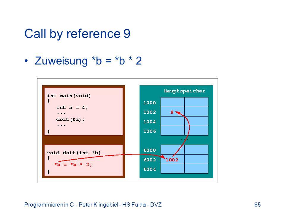 Programmieren in C - Peter Klingebiel - HS Fulda - DVZ65 Call by reference 9 Zuweisung *b = *b * 2