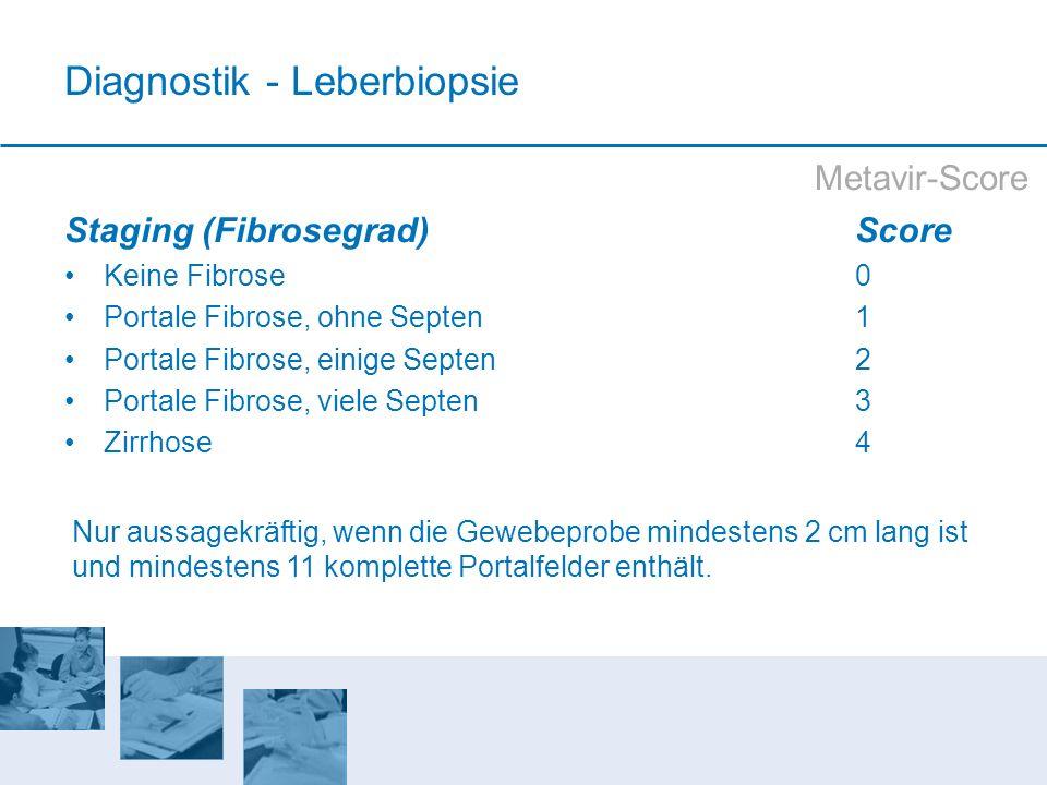 Metavir-Score Staging (Fibrosegrad)Score Keine Fibrose0 Portale Fibrose, ohne Septen1 Portale Fibrose, einige Septen2 Portale Fibrose, viele Septen 3
