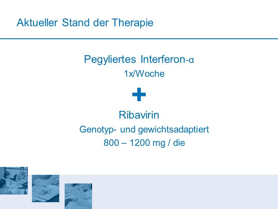 Aktueller Stand der Therapie Pegyliertes Interferon -α 1x/Woche Ribavirin Genotyp- und gewichtsadaptiert 800 – 1200 mg / die