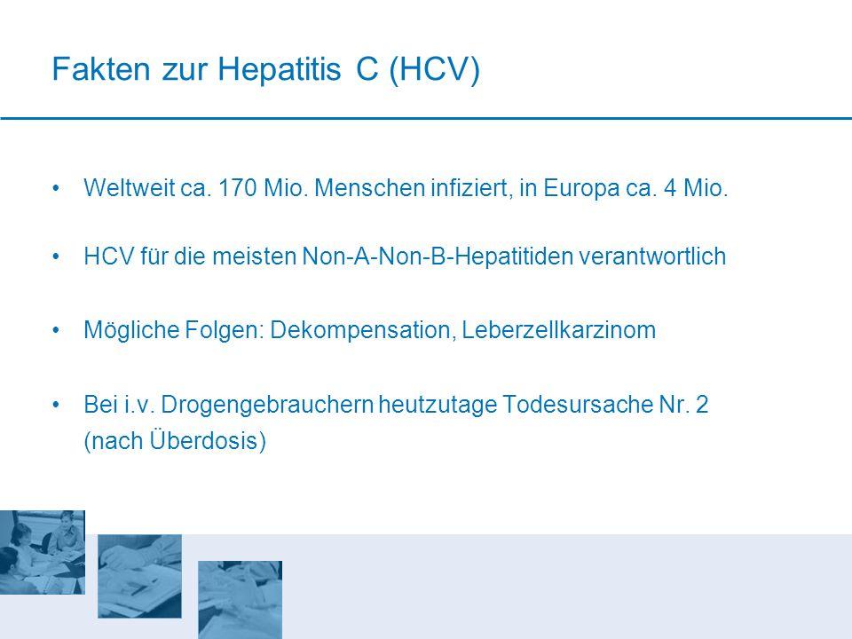 Fakten zur Hepatitis C (HCV) Weltweit ca. 170 Mio. Menschen infiziert, in Europa ca. 4 Mio. HCV für die meisten Non-A-Non-B-Hepatitiden verantwortlich