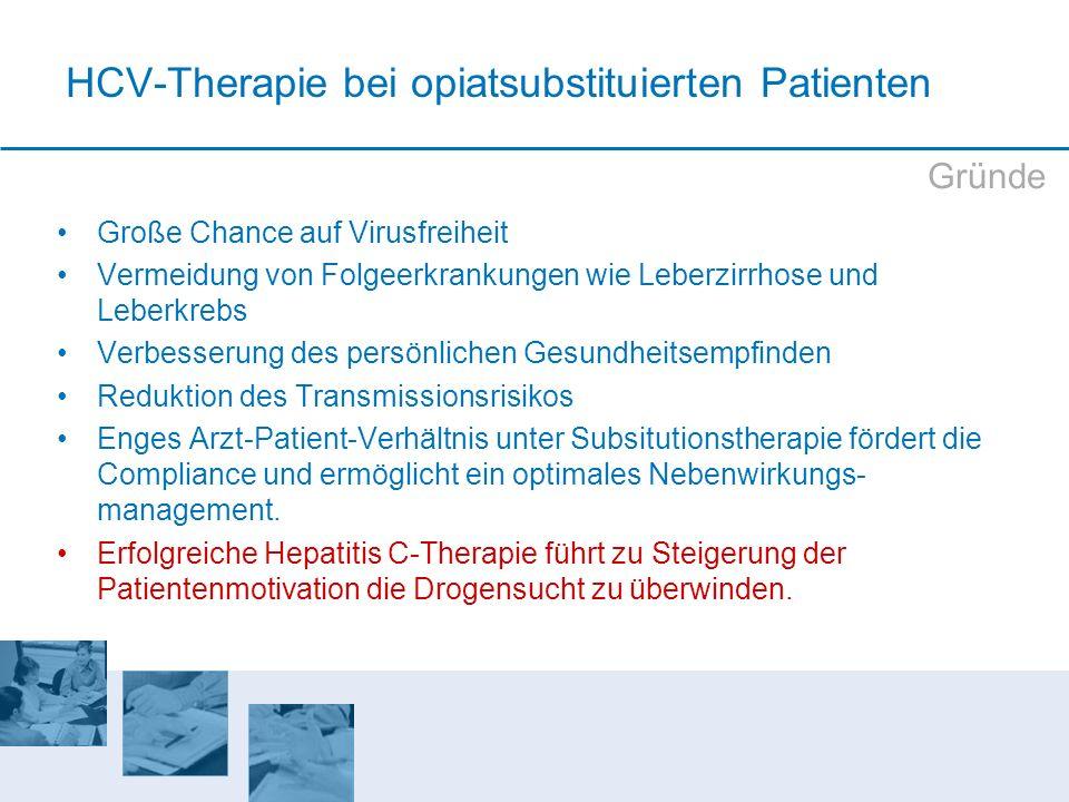 HCV-Therapie bei opiatsubstituierten Patienten Große Chance auf Virusfreiheit Vermeidung von Folgeerkrankungen wie Leberzirrhose und Leberkrebs Verbes