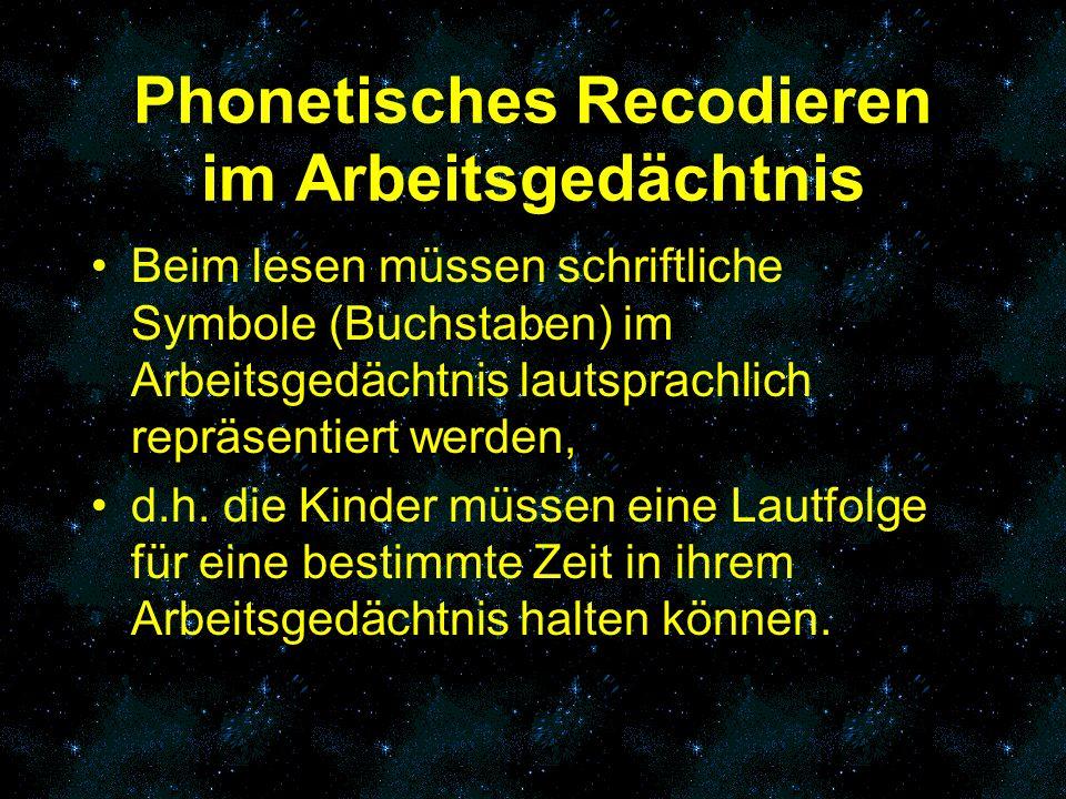 Phonetisches Recodieren im Arbeitsgedächtnis Beim lesen müssen schriftliche Symbole (Buchstaben) im Arbeitsgedächtnis lautsprachlich repräsentiert wer