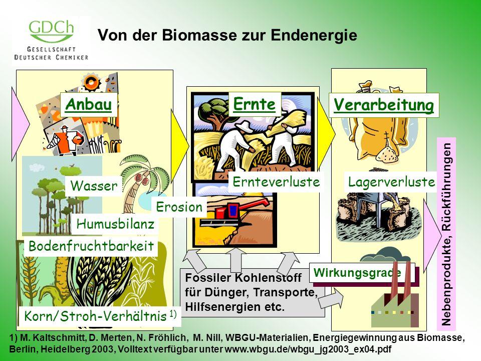 Fossiler Kohlenstoff für Dünger, Transporte, Hilfsenergien etc. Von der Biomasse zur Endenergie Anbau Korn/Stroh-Verhältnis 1) Humusbilanz Ernteverlus