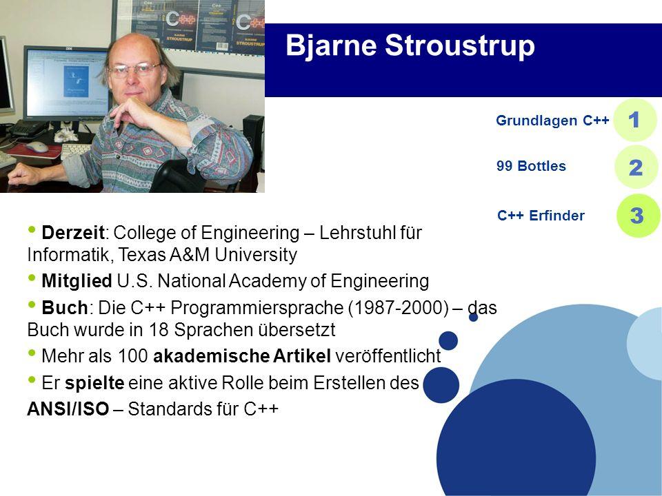 Bjarne Stroustrup Derzeit: College of Engineering – Lehrstuhl für Informatik, Texas A&M University Mitglied U.S. National Academy of Engineering Buch: