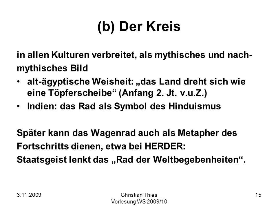 3.11.2009Christian Thies Vorlesung WS 2009/10 15 (b) Der Kreis in allen Kulturen verbreitet, als mythisches und nach- mythisches Bild alt-ägyptische W