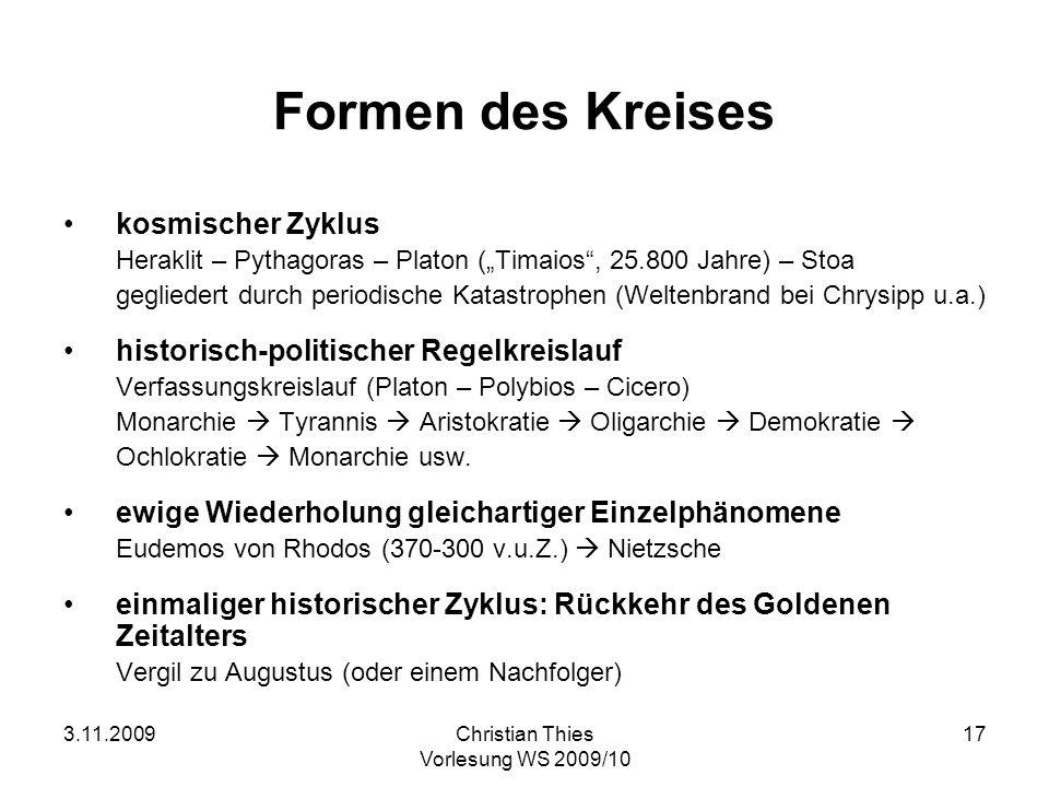 3.11.2009Christian Thies Vorlesung WS 2009/10 17 Formen des Kreises kosmischer Zyklus Heraklit – Pythagoras – Platon (Timaios, 25.800 Jahre) – Stoa ge
