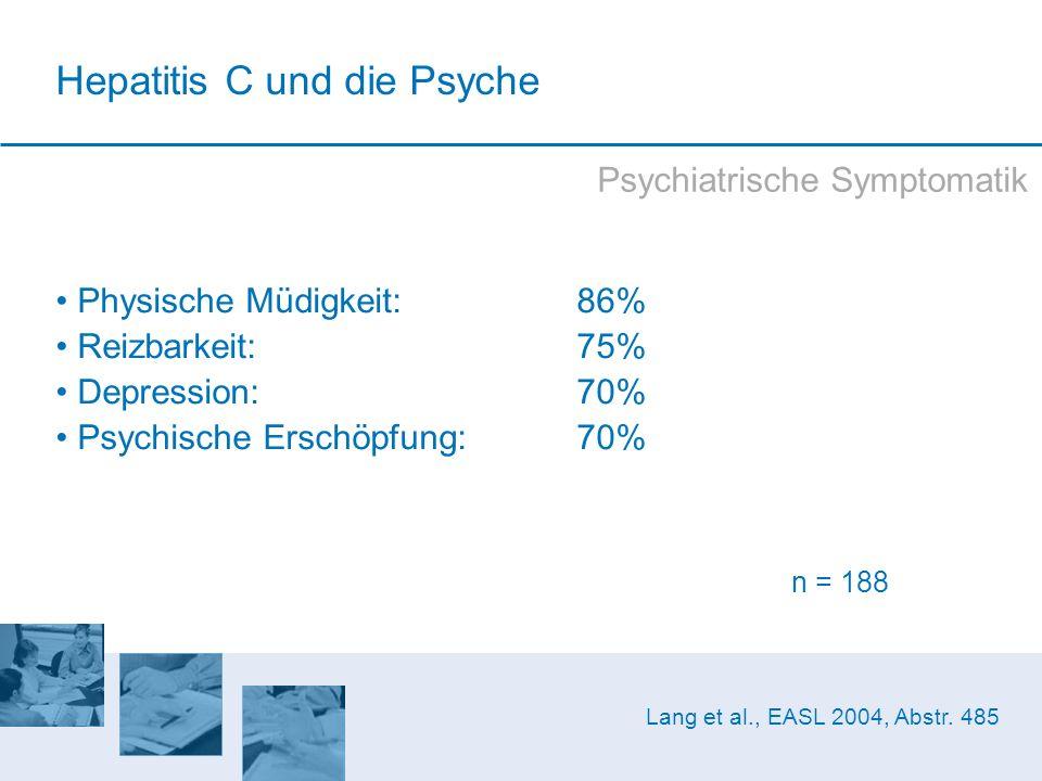 Physische Müdigkeit: 86% Reizbarkeit: 75% Depression: 70% Psychische Erschöpfung: 70% n = 188 Lang et al., EASL 2004, Abstr. 485 Psychiatrische Sympto