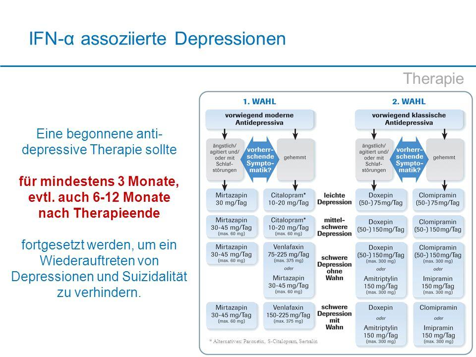 IFN-α assoziierte Depressionen Therapie Eine begonnene anti- depressive Therapie sollte für mindestens 3 Monate, evtl. auch 6-12 Monate nach Therapiee