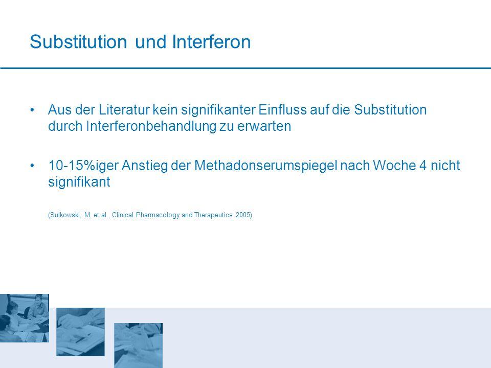 Substitution und Interferon Aus der Literatur kein signifikanter Einfluss auf die Substitution durch Interferonbehandlung zu erwarten 10-15%iger Ansti