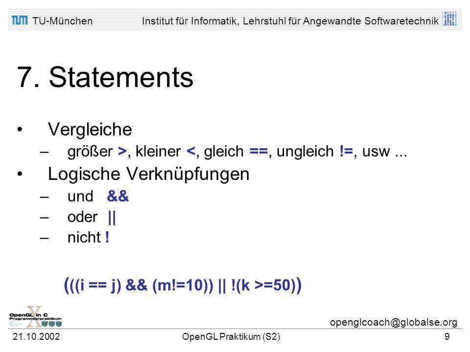 TU-MünchenInstitut für Informatik, Lehrstuhl für Angewandte Softwaretechnik openglcoach@globalse.org 21.10.2002OpenGL Praktikum (S2)8 6. Initialisieru