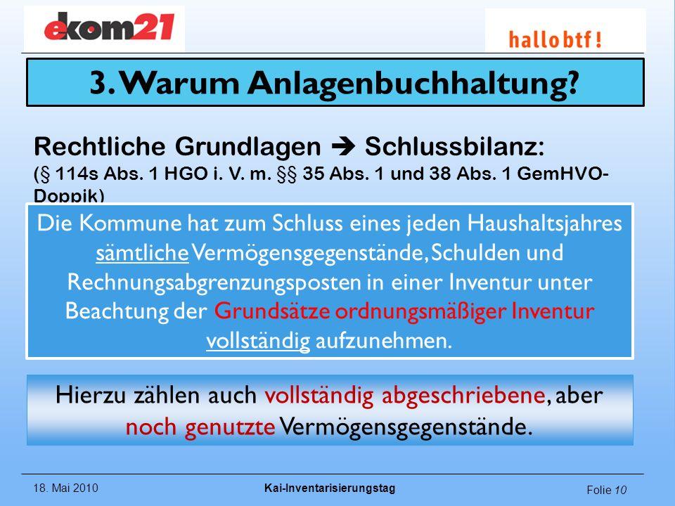 18. Mai 2010Kai-Inventarisierungstag Folie 10 Rechtliche Grundlagen Schlussbilanz: (§ 114s Abs. 1 HGO i. V. m. §§ 35 Abs. 1 und 38 Abs. 1 GemHVO- Dopp