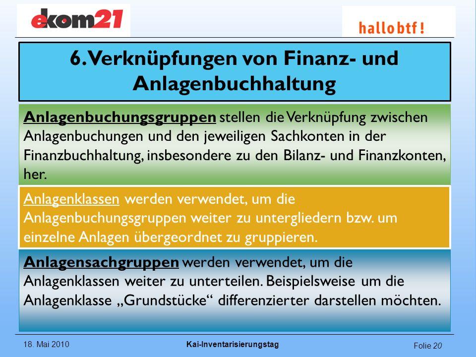 18. Mai 2010Kai-Inventarisierungstag Folie 20 6. Verknüpfungen von Finanz- und Anlagenbuchhaltung Anlagenbuchungsgruppen stellen die Verknüpfung zwisc