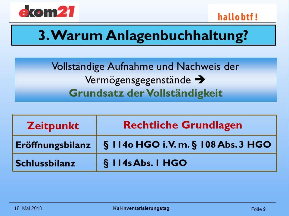 18.Mai 2010Kai-Inventarisierungstag Folie 10 Rechtliche Grundlagen Schlussbilanz: (§ 114s Abs.