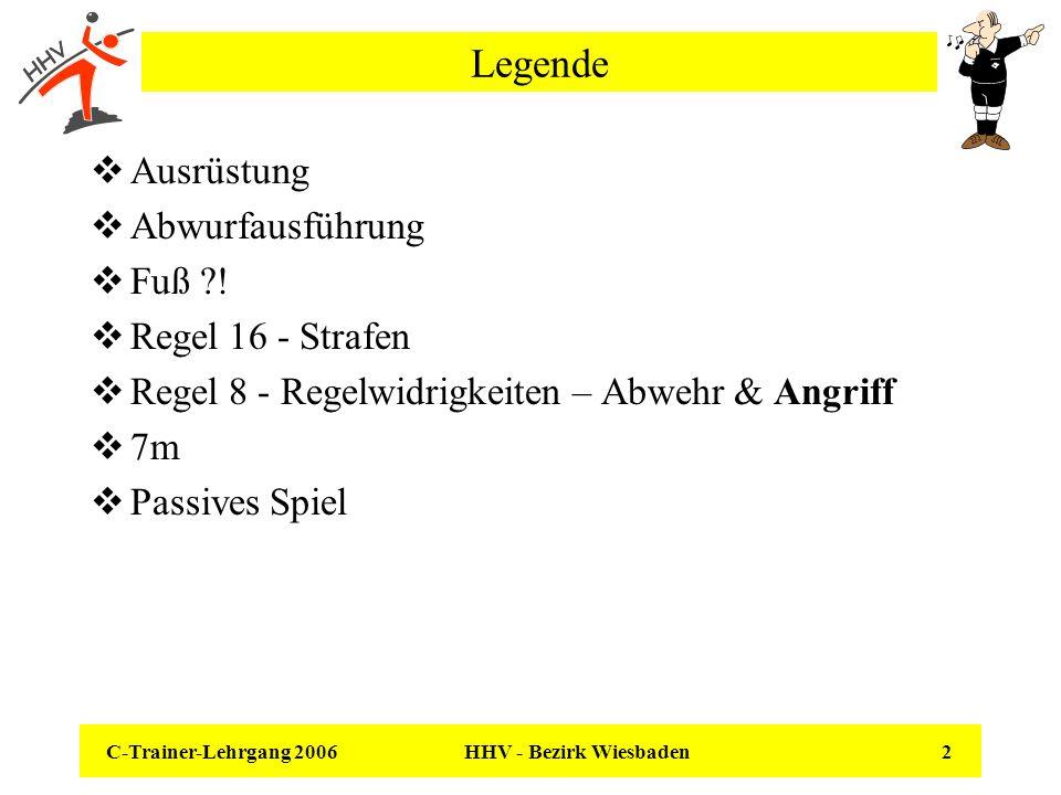 C-Trainer-Lehrgang 2006 HHV - Bezirk Wiesbaden 2 Legende Ausrüstung Abwurfausführung Fuß ?! Regel 16 - Strafen Regel 8 - Regelwidrigkeiten – Abwehr &