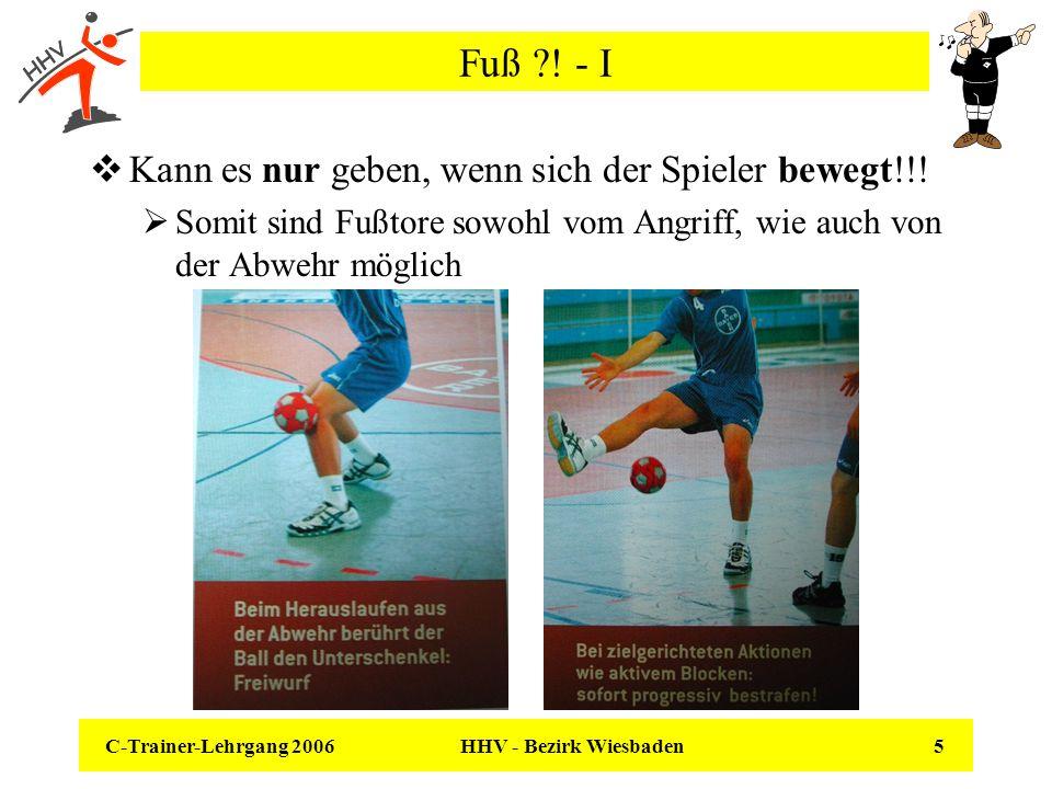 C-Trainer-Lehrgang 2006 HHV - Bezirk Wiesbaden 5 Fuß ?! - I Kann es nur geben, wenn sich der Spieler bewegt!!! Somit sind Fußtore sowohl vom Angriff,