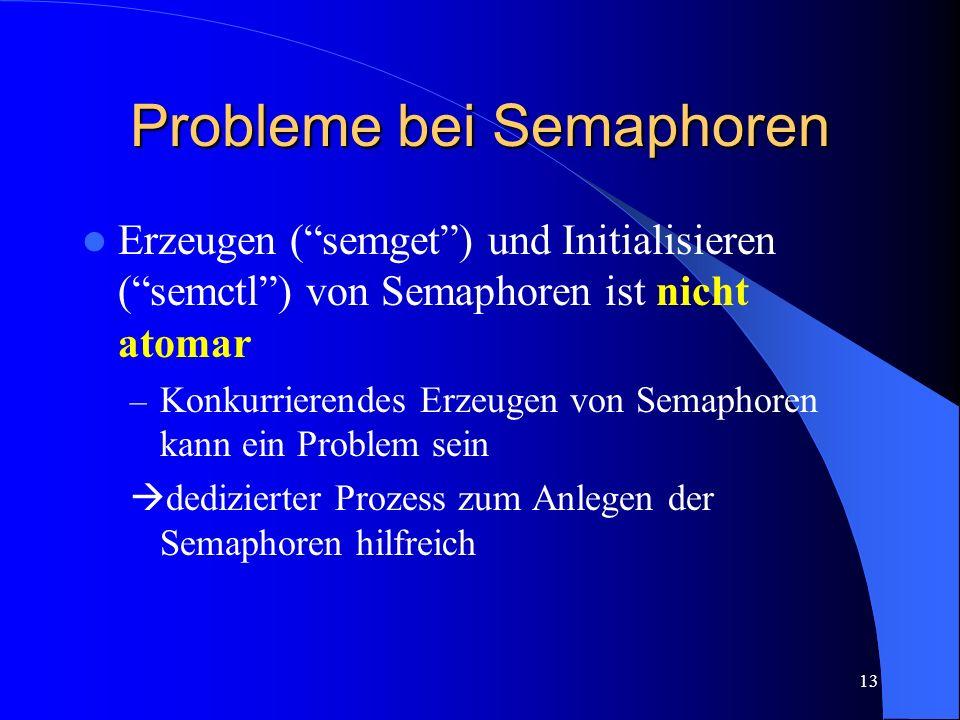 13 Probleme bei Semaphoren Erzeugen (semget) und Initialisieren (semctl) von Semaphoren ist nicht atomar – Konkurrierendes Erzeugen von Semaphoren kan
