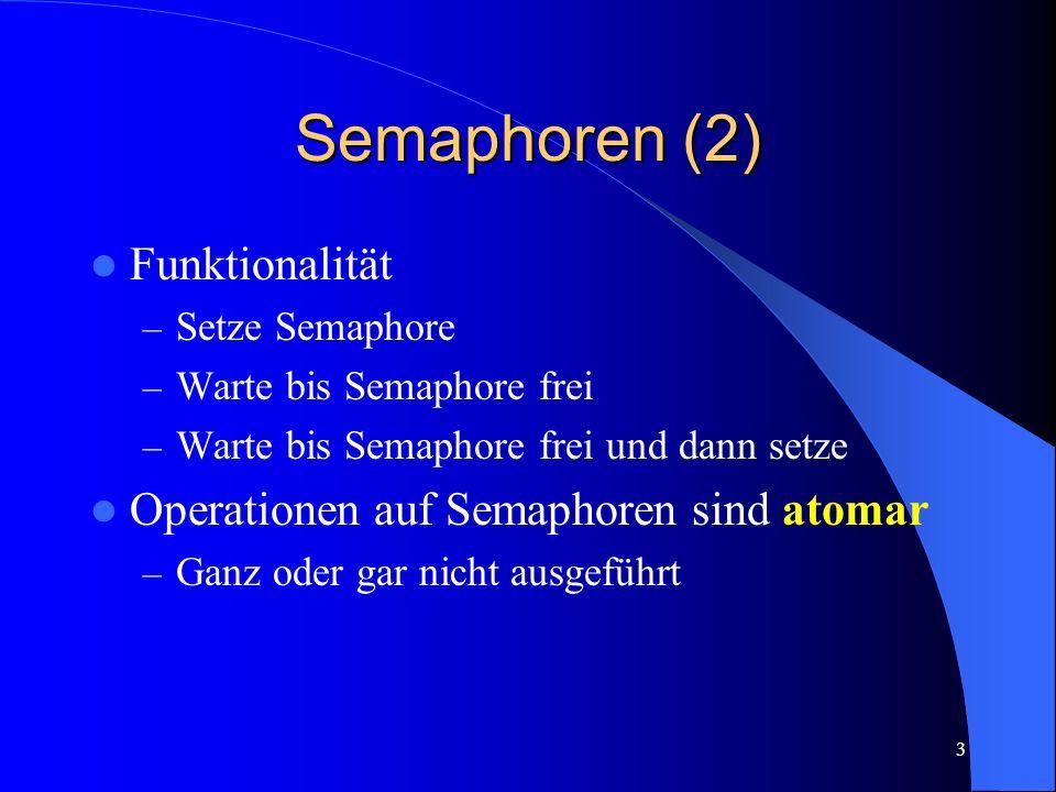 3 Semaphoren (2) Funktionalität – Setze Semaphore – Warte bis Semaphore frei – Warte bis Semaphore frei und dann setze Operationen auf Semaphoren sind