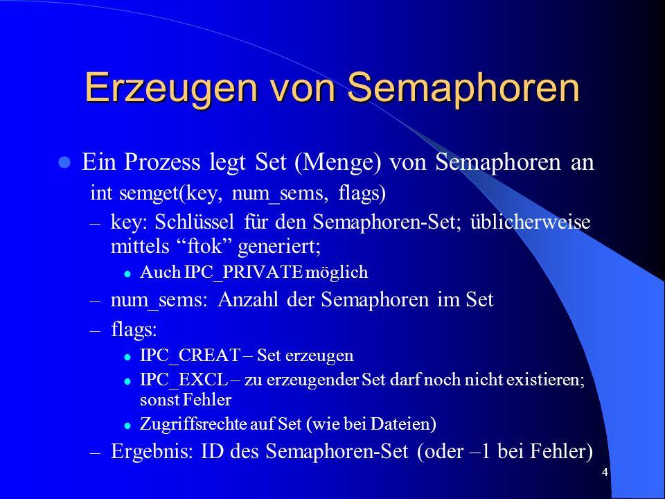 4 Erzeugen von Semaphoren Ein Prozess legt Set (Menge) von Semaphoren an int semget(key, num_sems, flags) – key: Schlüssel für den Semaphoren-Set; übl