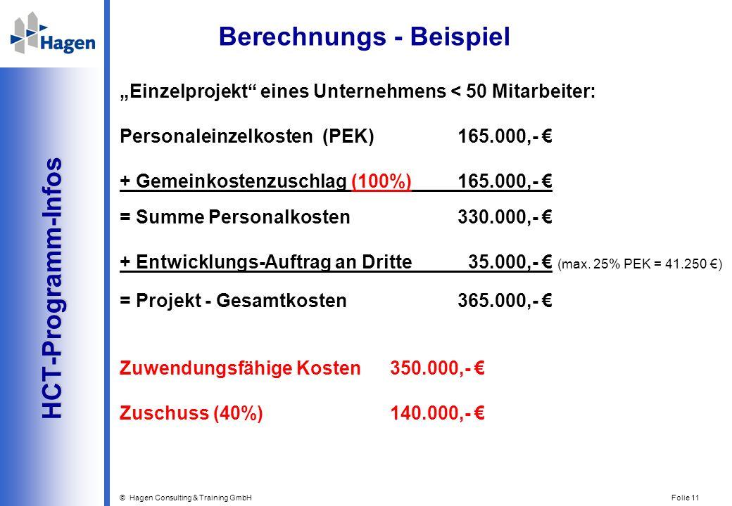 © Hagen Consulting & Training GmbH Folie 11 HCT-Programm-Infos HCT-Programm-Infos Berechnungs - Beispiel Einzelprojekt eines Unternehmens < 50 Mitarbe