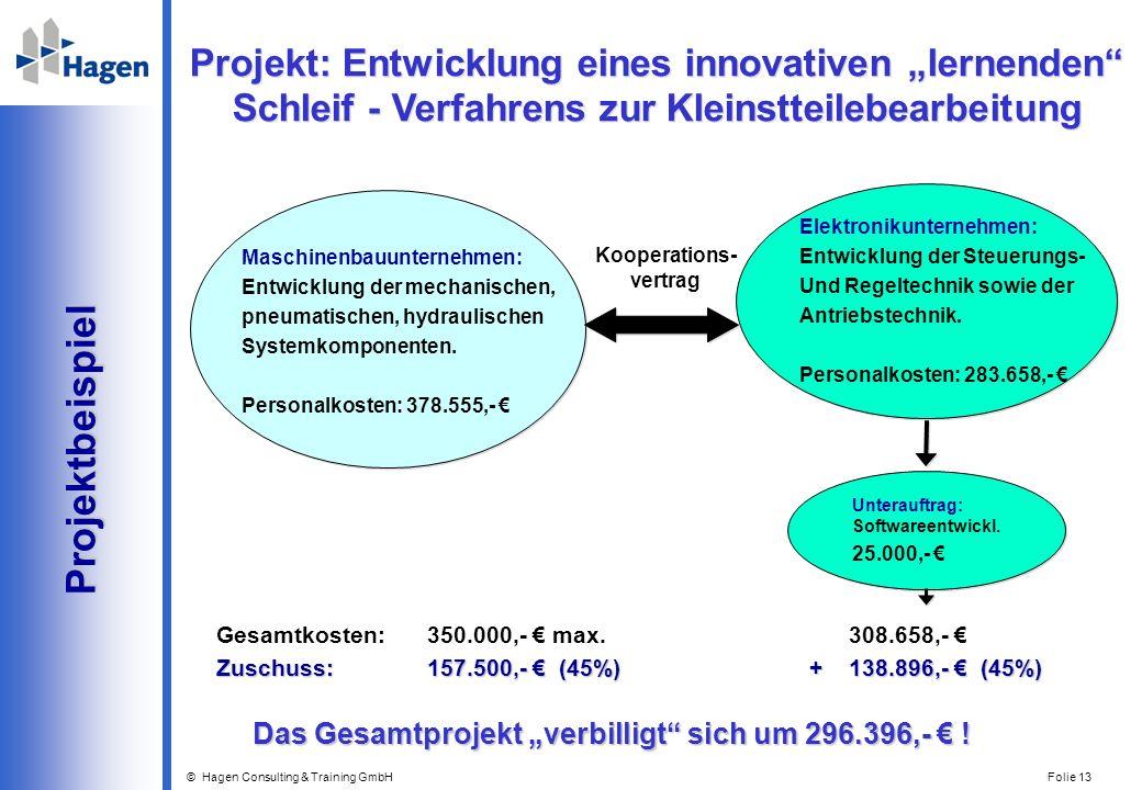 © Hagen Consulting & Training GmbH Folie 13 Projekt: Entwicklung eines innovativen lernenden Schleif - Verfahrens zur Kleinstteilebearbeitung Projektb