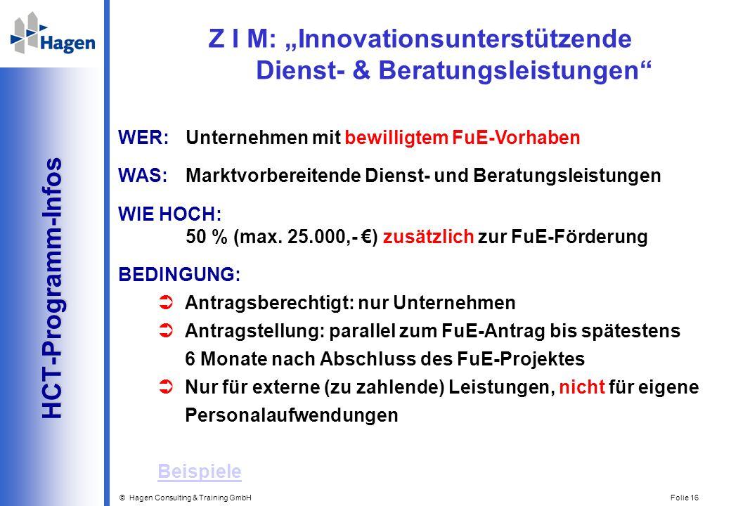 © Hagen Consulting & Training GmbH Folie 16 HCT-Programm-Infos HCT-Programm-Infos WER: Unternehmen mit bewilligtem FuE-Vorhaben WAS:Marktvorbereitende