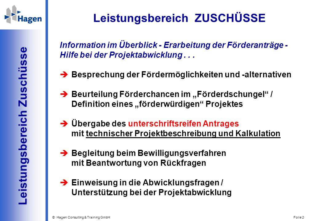© Hagen Consulting & Training GmbH Folie 2 Leistungsbereich Zuschüsse Leistungsbereich Zuschüsse Information im Überblick - Erarbeitung der Förderantr