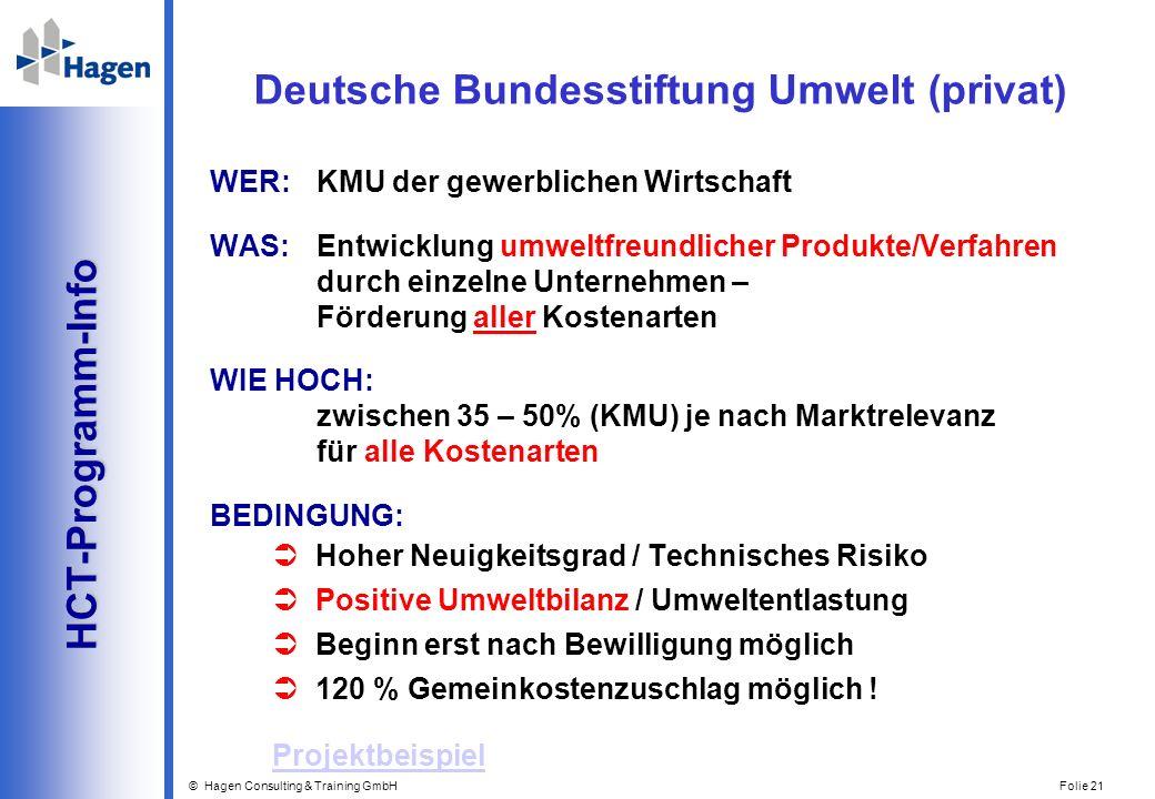 © Hagen Consulting & Training GmbH Folie 21 HCT-Programm-Info HCT-Programm-Info WER: KMU der gewerblichen Wirtschaft WAS:Entwicklung umweltfreundliche