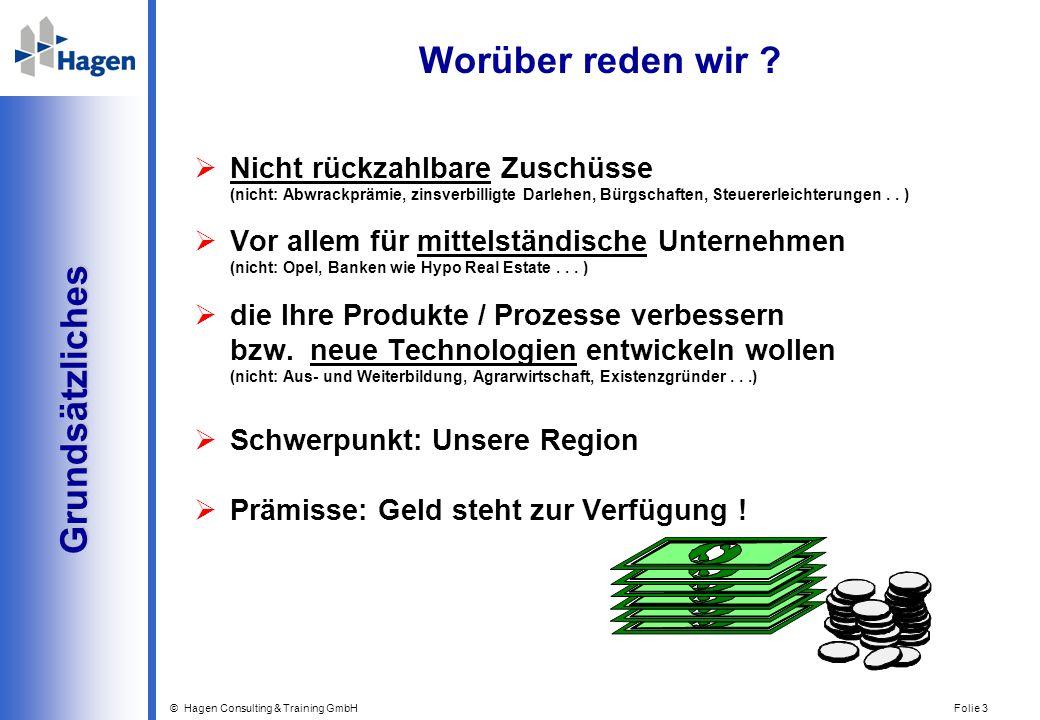 © Hagen Consulting & Training GmbH Folie 3 Grundsätzliches Grundsätzliches Worüber reden wir ? Nicht rückzahlbare Zuschüsse (nicht: Abwrackprämie, zin