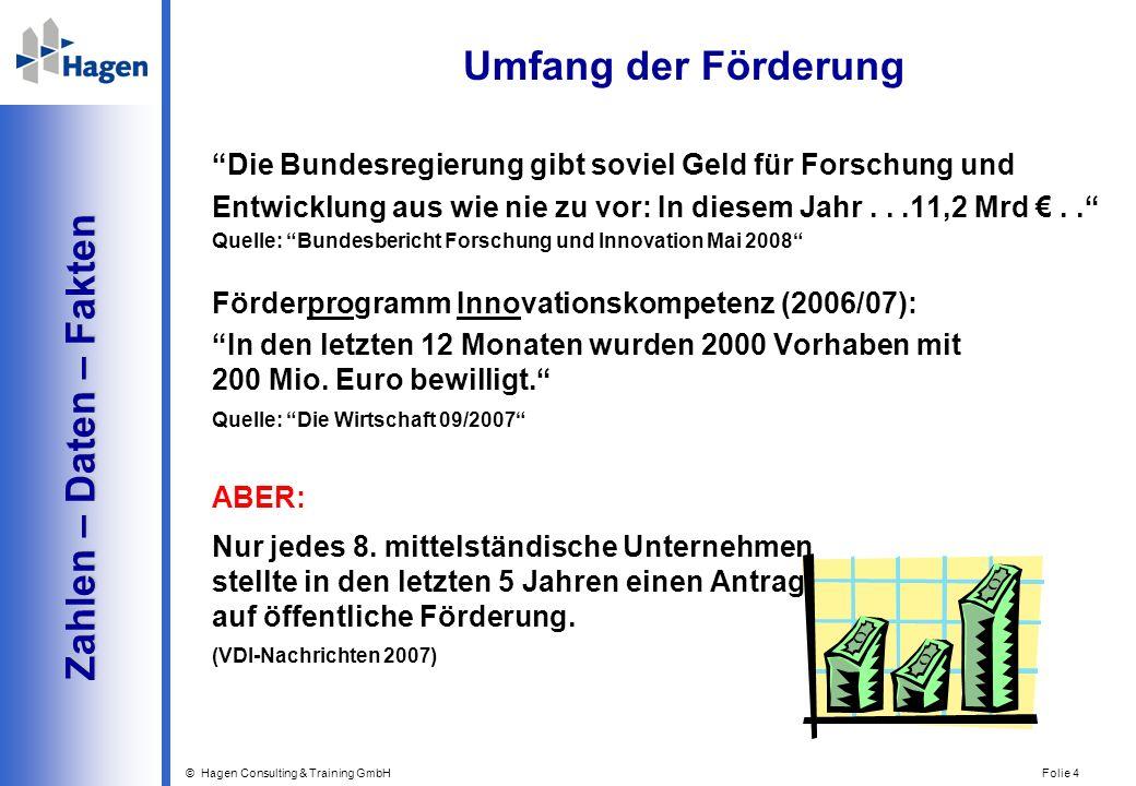 © Hagen Consulting & Training GmbH Folie 4 Zahlen – Daten – Fakten Zahlen – Daten – Fakten Umfang der Förderung Die Bundesregierung gibt soviel Geld f