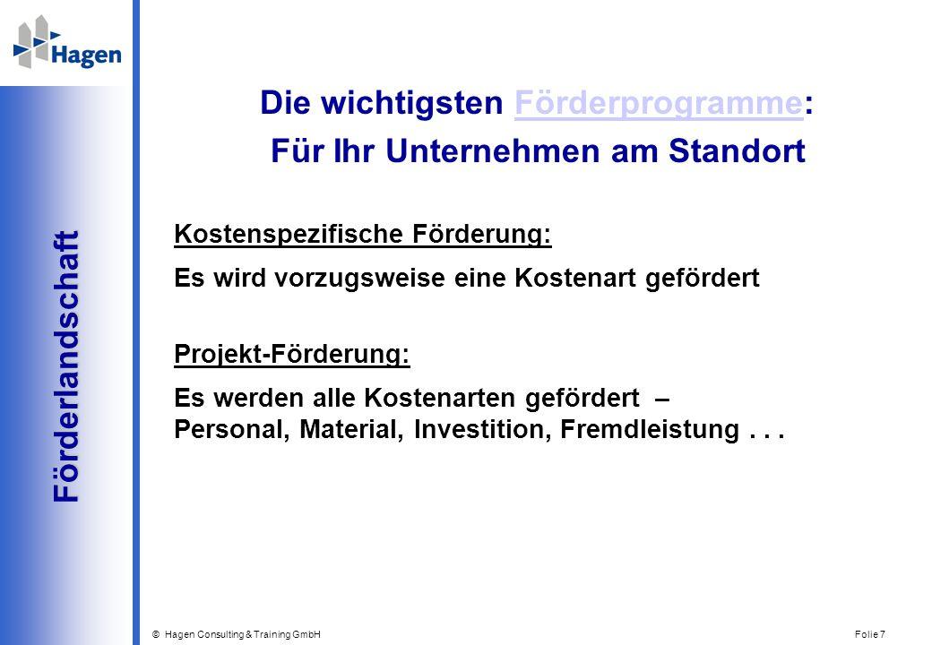 © Hagen Consulting & Training GmbH Folie 7 Förderlandschaft Förderlandschaft Die wichtigsten Förderprogramme:Förderprogramme Für Ihr Unternehmen am St