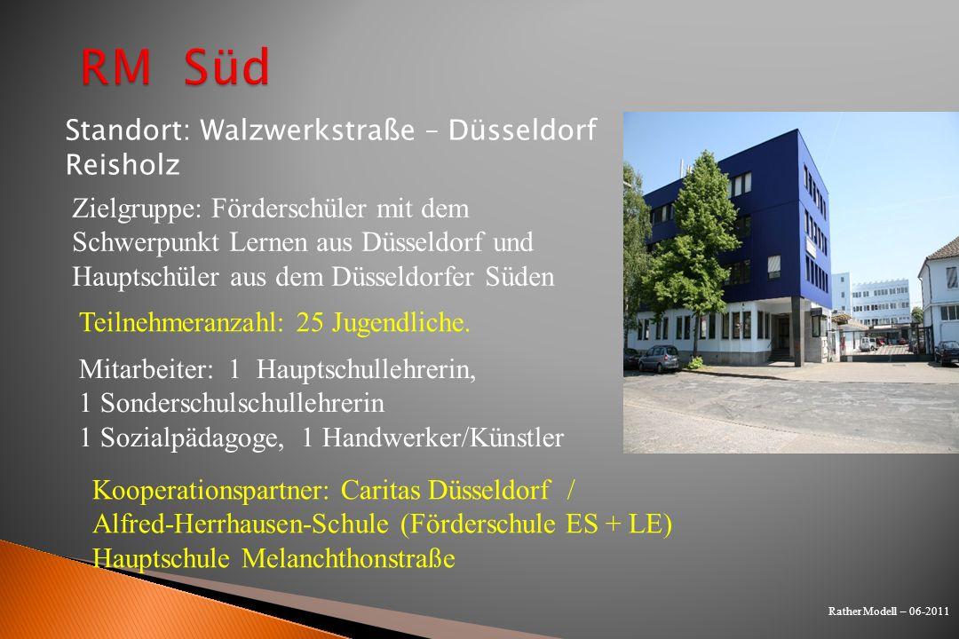 Rather Modell – 06-2011 Zielgruppe: Förderschüler mit dem Schwerpunkt Lernen aus Düsseldorf und Hauptschüler aus dem Düsseldorfer Süden Teilnehmeranza
