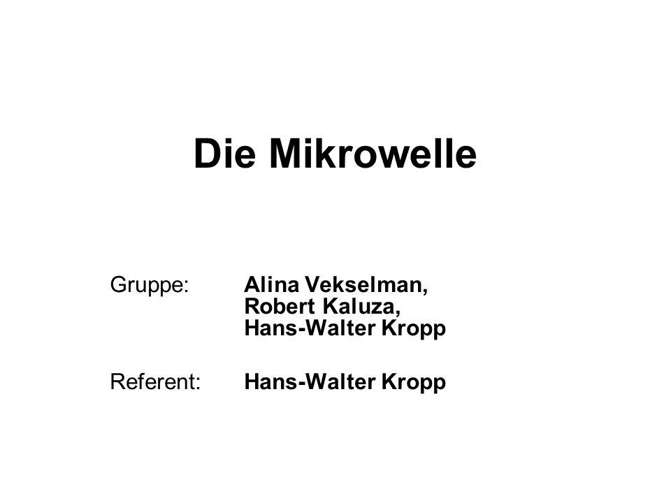 Die Mikrowelle Gruppe: Alina Vekselman, Robert Kaluza, Hans-Walter Kropp Referent: Hans-Walter Kropp