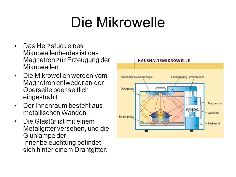 Die Mikrowelle Das Herzstück eines Mikrowellenherdes ist das Magnetron zur Erzeugung der Mikrowellen.