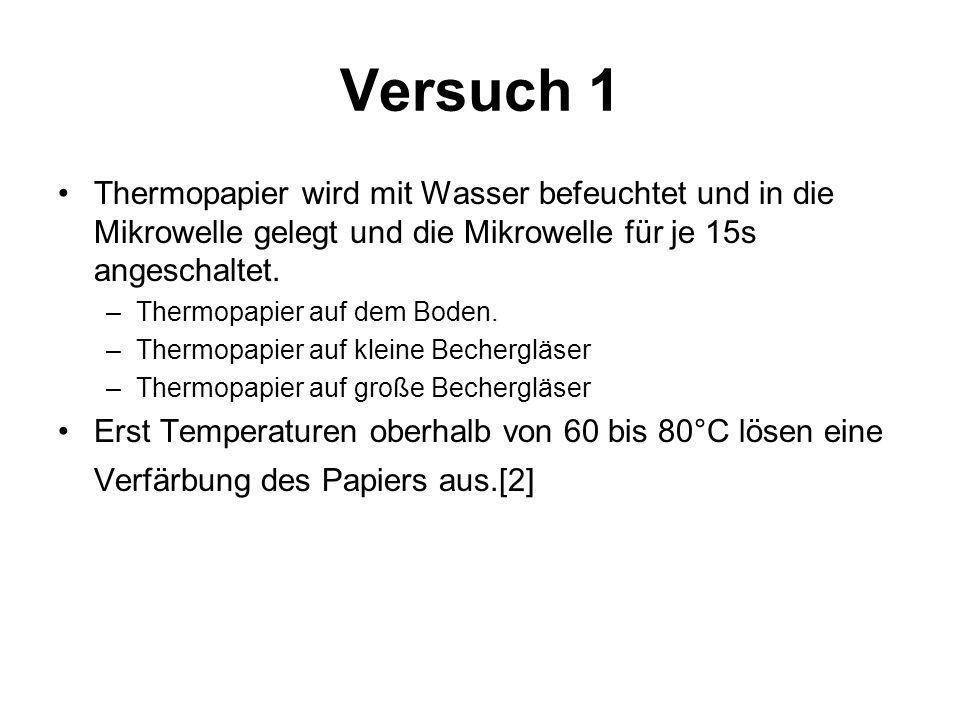 Versuch 1 Thermopapier wird mit Wasser befeuchtet und in die Mikrowelle gelegt und die Mikrowelle für je 15s angeschaltet.