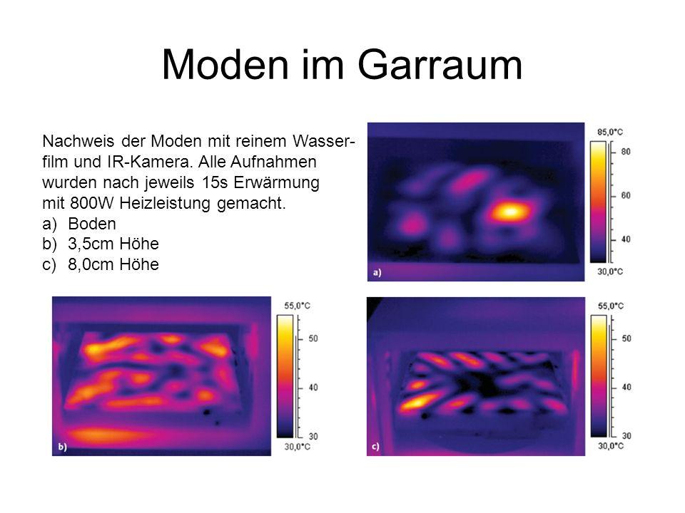 Moden im Garraum Nachweis der Moden mit reinem Wasser- film und IR-Kamera.